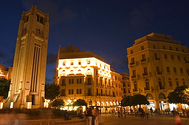 Clock tower in Place d'Etoile (Nejmeh Square) at night, downtown, Beirut, Lebanon, Middle East
