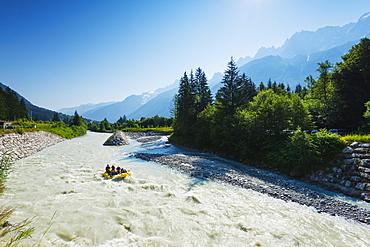 River rafting below Mont Blanc, Chamonix Valley, Rhone Alps, Haute Savoie, France, Europe