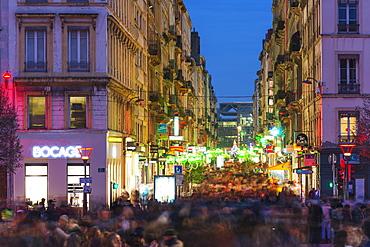 Busy city center crowds, Fete des Lumieres (Festival of Lights), Lyon, Rhone-Alpes, France, Europe