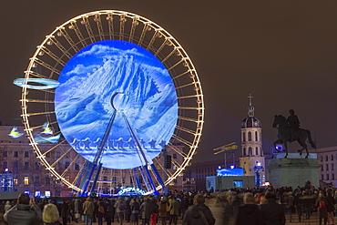 Place Bellecour, Fete des Lumieres (Festival of Lights) laser show, Lyon, Rhone-Alpes, France, Europe