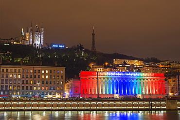 Fete des Lumieres (Festival of Lights) laser show, Basilica Notre-Dame de Fourviere, Saone River, Lyon, Rhone-Alpes, France, Europe