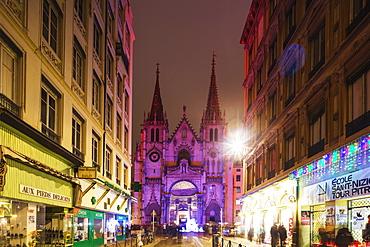 Church of St.-Nizier, Fete des Lumieres (Festival of Lights), Lyon, Rhone-Alpes, France, Europe