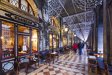 Christmas decorations at Florian Cafe, St. Marks Square, San Marco, Venice, UNESCO World Heritage Site, Veneto, Italy, Europe
