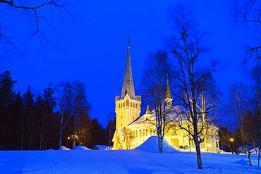 Local church, Jokkmokk, Lapland, Arctic Circle, Sweden, Scandinavia, Europe