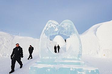 Ice sculpture, Ice Hotel, Kiruna, Lapland, Arctic Circle, Sweden, Scandinavia, Europe