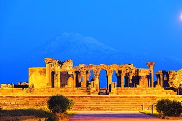 Zvartnots archaeological ruin, UNESCO World Heritage Site, Mount Ararat in Turkey behind, Armenia, Caucasus, Central Asia, Asia