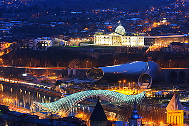 City view including Presidential Palace, Bridge of Peace on Mtkvari River. Tbilisi, Georgia, Caucasus, Central Asia, Asia