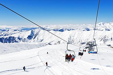 Ski lift, Gudauri ski resort, Georgia, Caucasus region, Central Asia, Asia