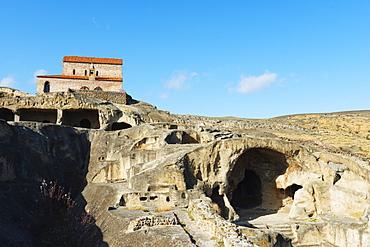 Shida Kartli, monastery at Bronze Age settlement of Uplistsikhe, ancient cave city, near Gori, Georgia, Caucasus, Central Asia, Asia