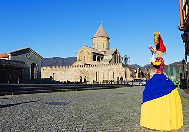 Local artisan doll display, Svetitskhoveli Cathedral, 11th century, by Patriach Melkisedek, Mtskheta, historical capital, UNESCO World Heritage Site, Georgia, Caucasus, Central Asia, Asia