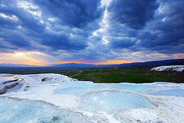 White travertine basins at sunset, Pamukkale, UNESCO World Heritage Site, Western Anatolia, Turkey, Asia Minor, Eurasia