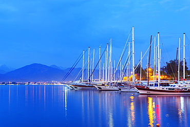 Boats in harbour, Fethiye, The Aegean Turquoise coast, Mediterranean region, Anatolia, Turkey, Asia Minor, Eurasia