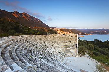 Lycian amphitheatre, Antiphellos ruins, Kas, Lycia, Turquoise Coast, Mediterranean Region, Anatolia, Turkey, Asia Minor, Eurasia