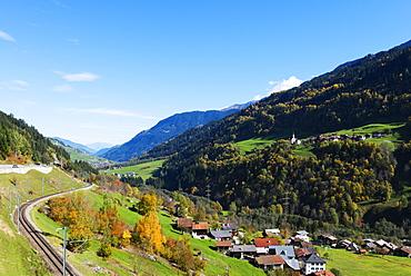 Swiss railway, autumn, Engadine, Graubunden, Switzerland, Europe