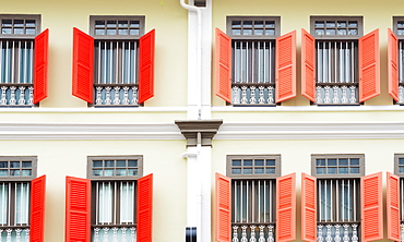 Shutters on colonial building, Singapore, Southeast Asia, Asia