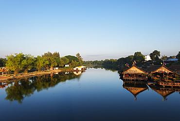 Floating raft restaurant on the River Kwai, Kanchanaburi, Thailand, Southeast Asia, Asia