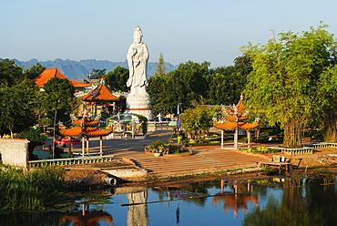 River Kwai and Kuang Im Chapel Buddhist temple, Kanchanaburi, Thailand, Southeast Asia, Asia
