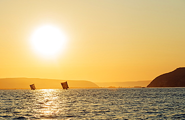 St. Augustine, sailboats on the horizon at sunrise, southern area, Madagascar, Africa