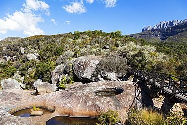 Weathered rock pools, Andringitra National Park, Ambalavao, central area, Madagascar, Africa