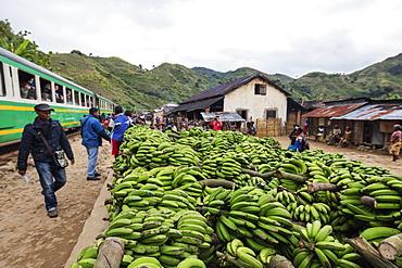 Bananas waiting to be transported, Fianarantsoa to Manakara FCE train, easterrn area, Madagascar, Africa