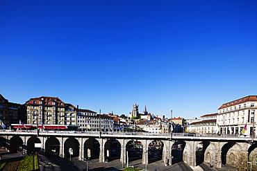 City centre viaduct, Lausanne, Vaud, Switzerland, Europe