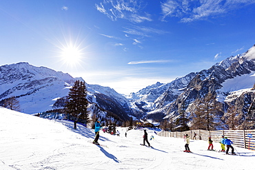 Courmayeur ski resort, Aosta Valley, Italian Alps, Italy, Europe