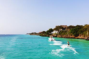 Water skier, Nungwi, Island of Zanzibar, Tanzania, East Africa, Africa