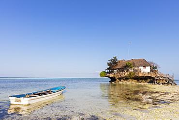 The Rock restaurant in the sea, Pingwe, Island of Zanzibar, Tanzania, East Africa, Africa