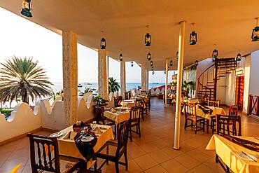 Dining room of The Seyyida Hotel and Spa, Stone Town, Island of Zanzibar, Tanzania, East Africa, Africa