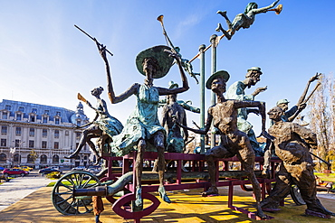 University Square, statue of musicial comedians by Ioan Bolborea, Bucharest, Romania, Europe