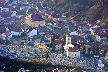 Hilltop view of church cemetery, Brasov, Romania, Europe