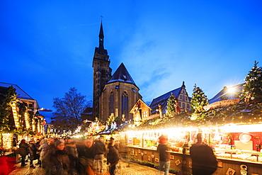 Collegiate Church (Stiftskirche), Christmas market, Schillerplatz, Stuttgart, Baden-Wurttemberg, Germany, Europe