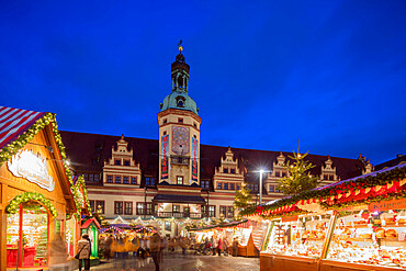 Christmas market, Old Town Hall (Altes Rathaus), Leipzig, Saxony, Germany, Europe