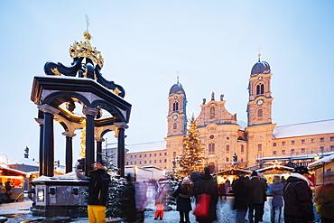 Einsiedeln Abbey Benedictine Monastery and Christmas market, Einsiedeln, Schwyz, Switzerland, Europe
