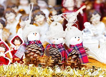Christmas market, pine cone decorations, Einsiedeln, Switzerland, Europe