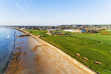 Aerial view of Royal Jersey Golf Course and club house, Gorey, Jersey, Channel Islands, United Kingdom, Europe
