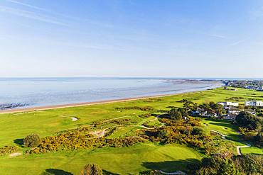 Aerial view of Royal Jersey Golf Course, Gorey, Jersey, Channel Islands, United Kingdom, Europe