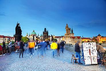 The 14th century Charles Bridge, Prague, UNESCO World Heritage Site, Bohemia, Czech Republic, Europe