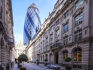 The Gherkin (30 St. Mary Axe) building, City of London, London, England, United Kingdom, Europe