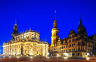 Dresden Cathedral (Cathedral of the Holy Trinity), Hausmannsturm tower, Altstadt (Old Town), Dresden, Saxony, Germany, Europe