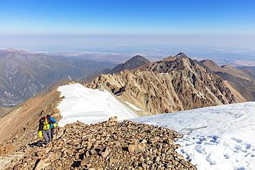 Hikers on Mount Uchityel, Ala Archa National Park, Bishkek, Kyrgyzstan, Central Asia, Asia