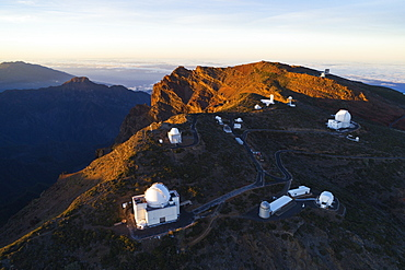 Aerial view of Telescope observatory, near Caldera de Taburiente National Park, UNESCO Biosphere Site, La Palma, Canary Islands, Spain, Atlantic, Europe