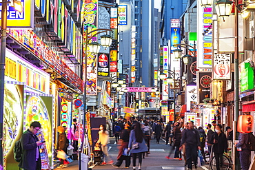 Kabukicho neon lit street, Shinjuku, Tokyo, Japan, Asia