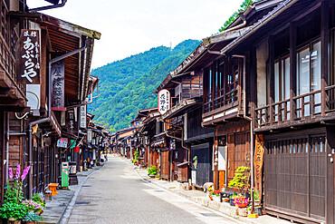 Nakasendo old post town of Narai, Kiso Valley, Nagano prefecture, Honshu, Japan, Asia