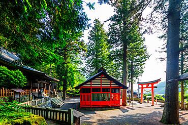 Tsumago Shrine, Nakasendo old post town of Tsumago, Nagano prefecture, Honshu, Japan, Asia