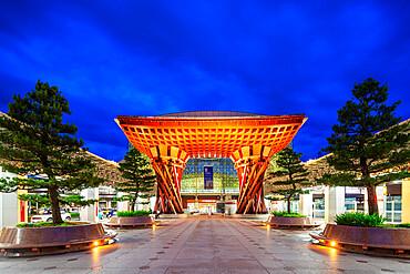 Torii shaped Kanazawa station, designed by architects Sejima and Nishizawa, Kanazawa City, Ishikawa prefecture, Honshu, Japan, Asia