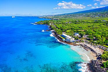 Aerial view of Magic Sands Beach Park, Big Island, Hawaii, United States of America, North America