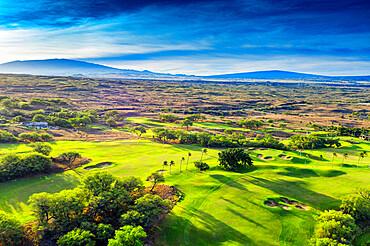 Aerial view of west coast resort, Mauna Kea Beach hotel, Big Island, Hawaii, United States of America, North America
