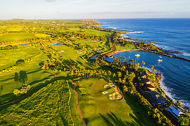 Aerial view by done of Poipu golf course, Kauai Island, Hawaii, United States of America, North America
