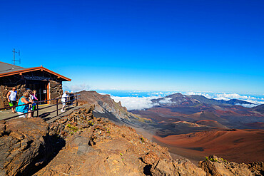 Haleakala National Park, volcanic landscape and summit visitors center, Maui Island, Hawaii, United States of America, North America